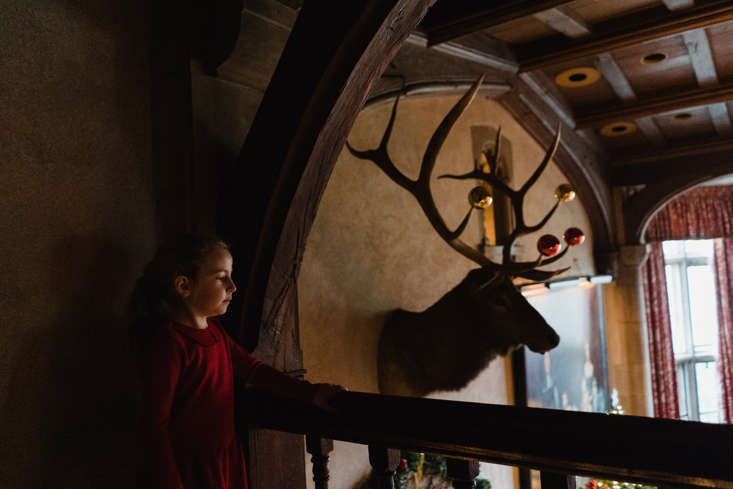 A little girl stands next to an elk decorated for the holidays at Coe House.