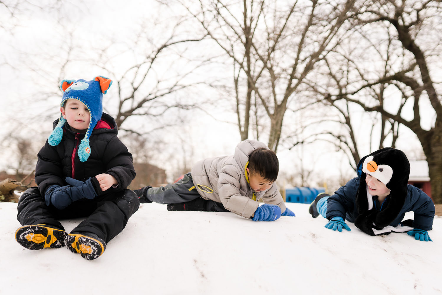 Three little boys play in the snow.