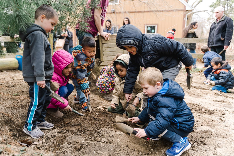 Children dig at Tanglewood Preserve.