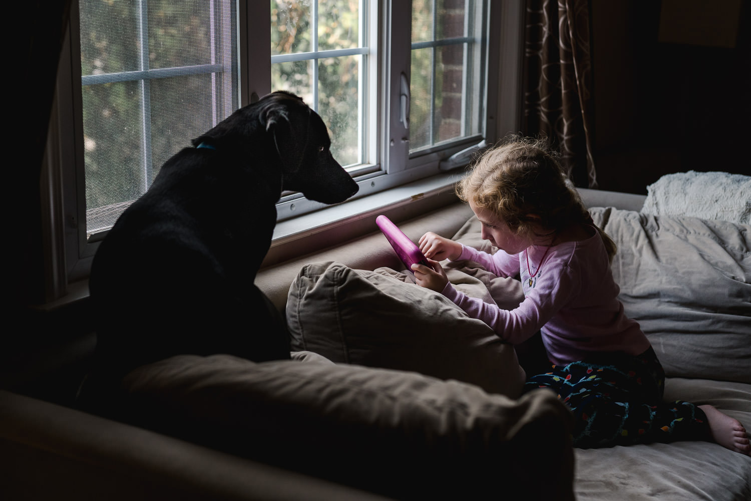 A little girl plays with her tablet on the couch next to her dog.