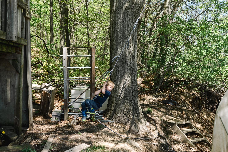 A little boy hangs on a roper swing.
