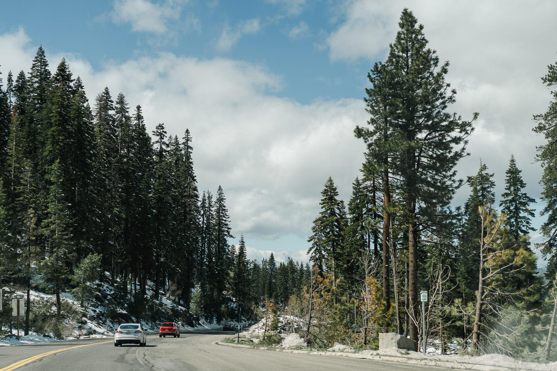 Driving up Highway 50 to Lake Tahoe.