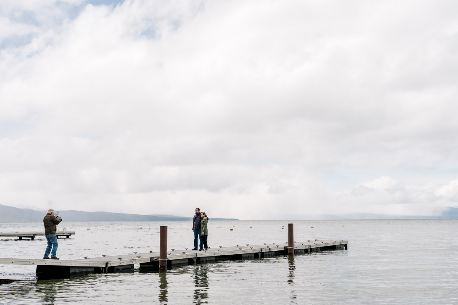A couple is photographed at Lake Tahoe.