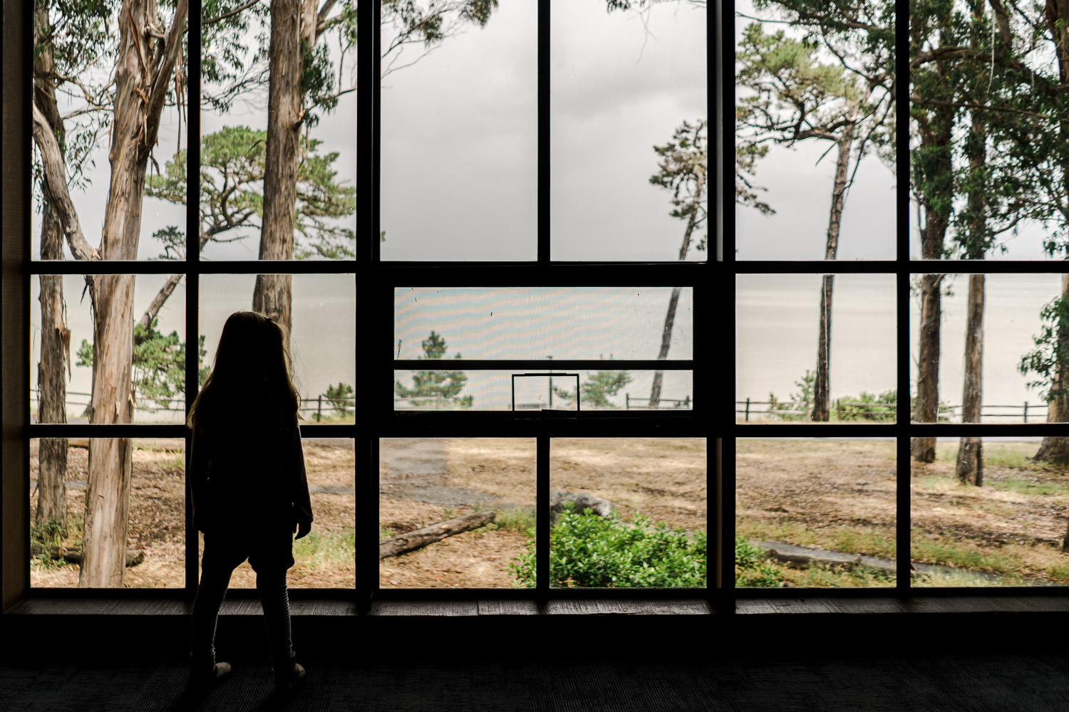 A little girl looks out a window at the SF Bay.