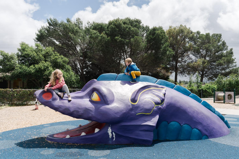Children play on a dragon playground.