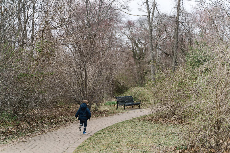 A little boy runs up a path at Tanglewood.