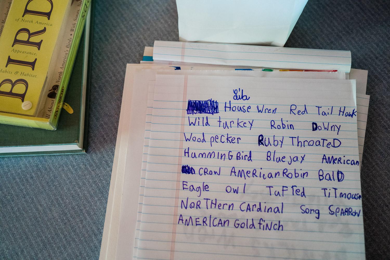 A list of bird names.