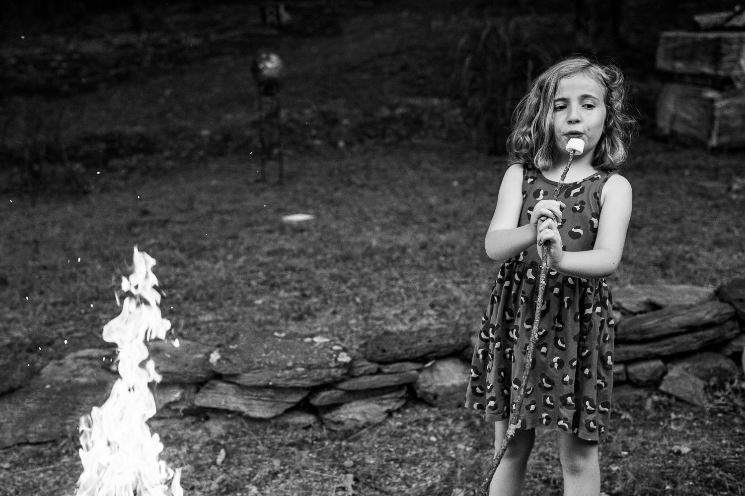 A little girl blows on her toasted marshmallow.