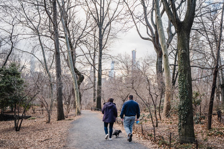 A couple walks through Central Park.