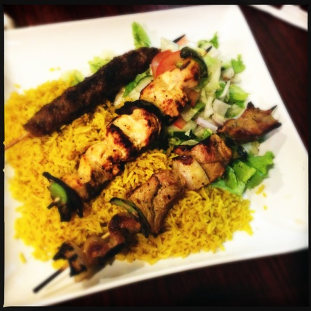 The Combo was served with Kafta, Beef, and Chicken kabobs over basmati rice