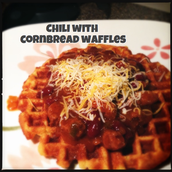 Chili served over Cornbread Waffles...awesome!