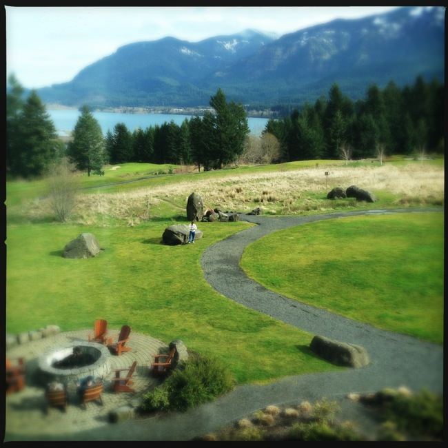 The views of the Columbia from our room at the famous Skamania Lodge.