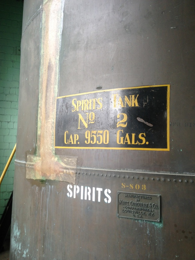 This tank captures the distilled spirits off of the still before barreling.