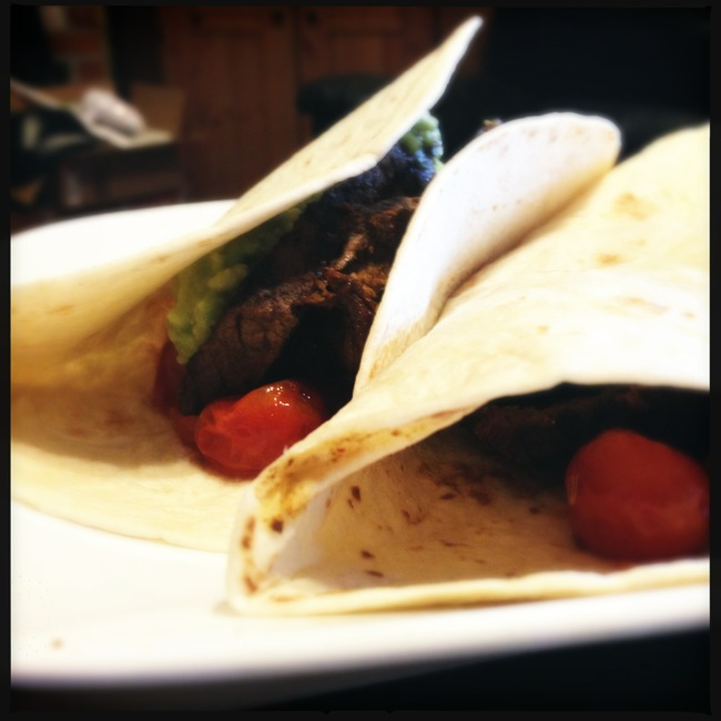 Steak tacos with slow-roasted cherry tomatoes and a simple guacamole were a big hit last night.