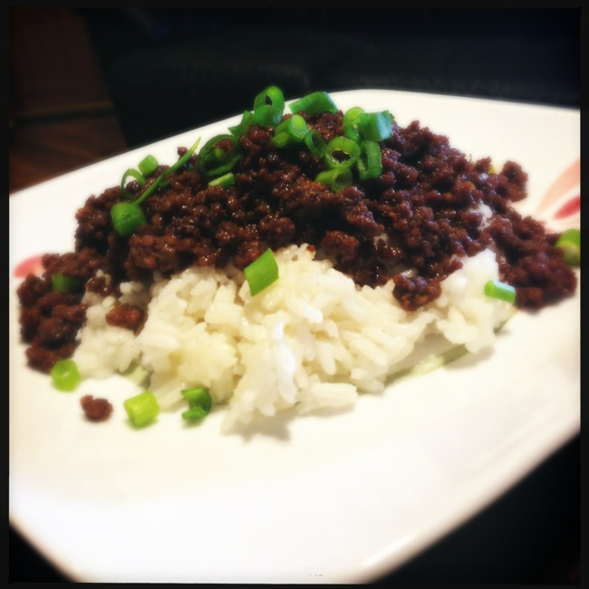 Home made Korean Beef served over rice