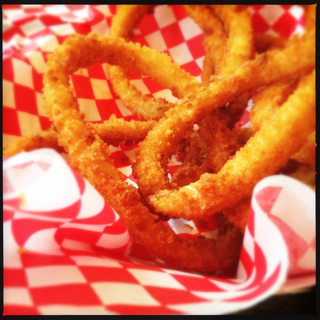 Perfectly breaded and fried onion rings complimented the burger very well