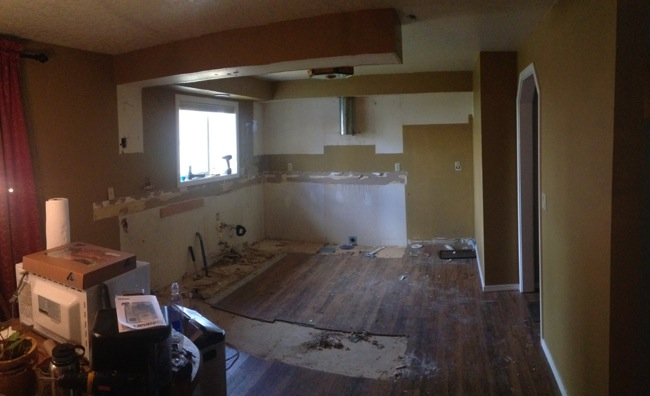 The kitchen after demolition was done.  We stripped it down to the walls!