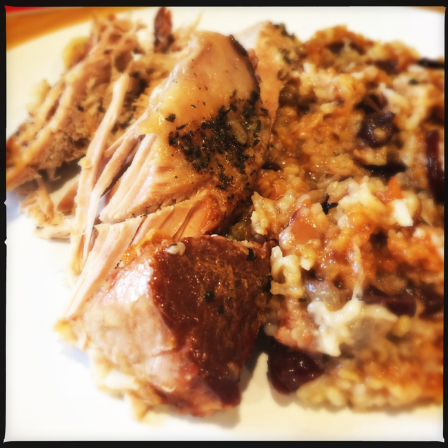 Pork loin cooked in the slow cooker with Apple-Cranberry rice