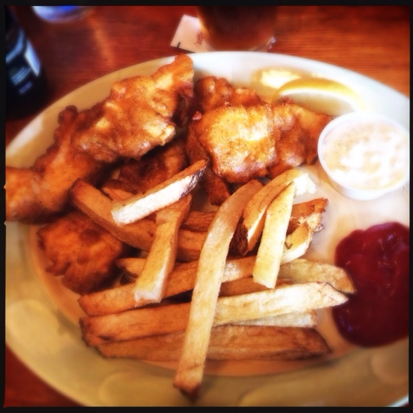 "The lunch order of fish and chips at Morris' was HUGE.  Six large halibut filets and a mountain of hand cut ""Driftwood"" fries was almost more than the Fat Boy could take down."