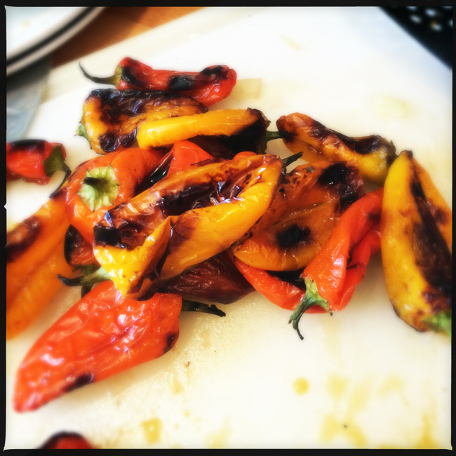 Roasting the peppers gives them a sweeter and deeper flavor than they have raw.