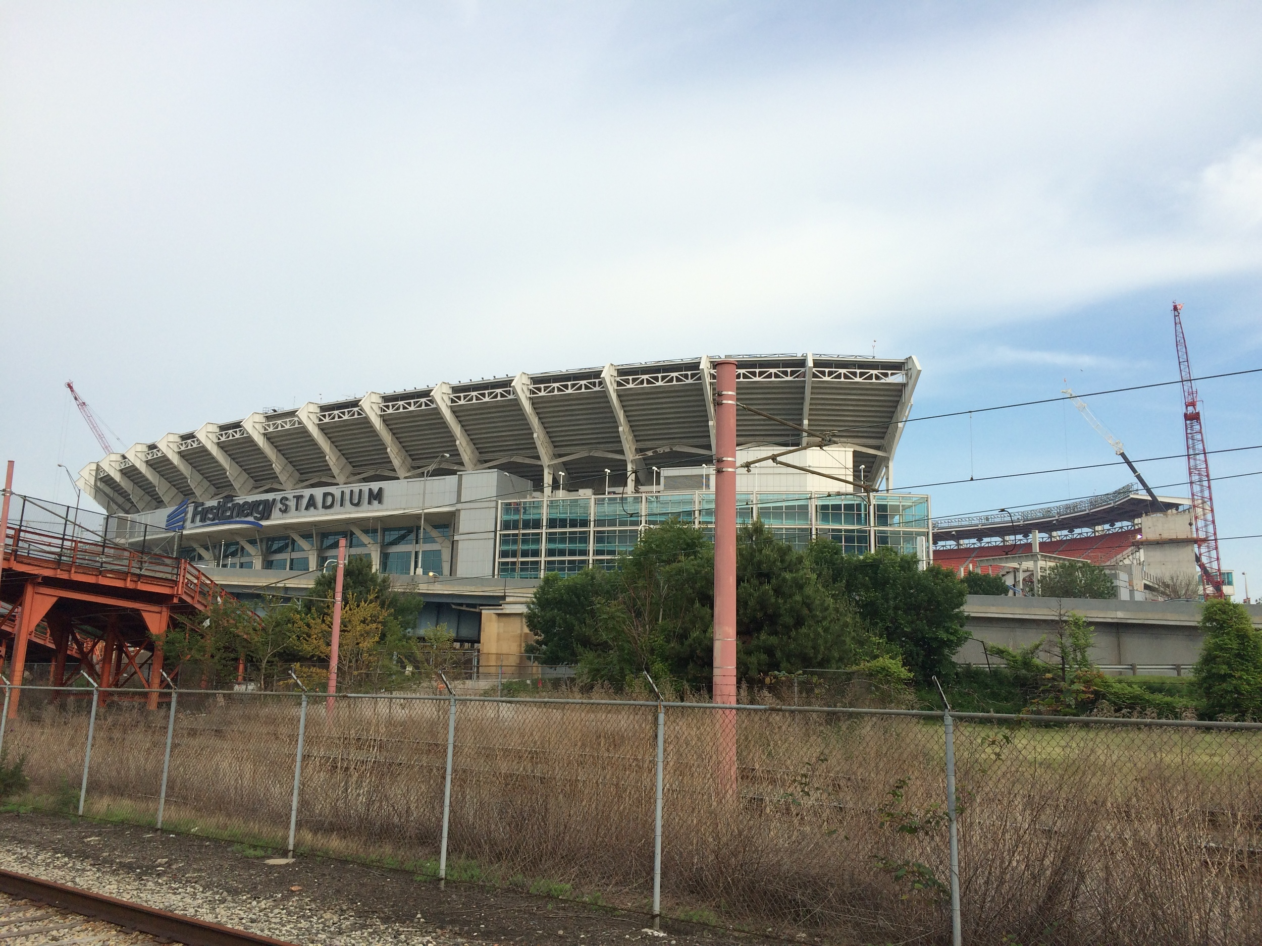 First Energy Stadium, home of the NFL's Cleveland Browns is right across the street from the Amtrak station in Cleveland.