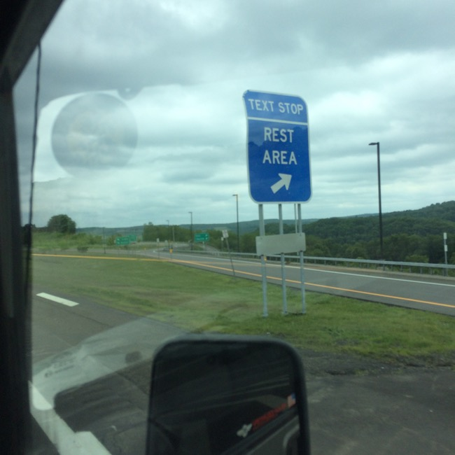 Texting areas...bizarre New York creation for pulling over to text on the Interstate