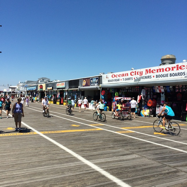 The boardwalk at Ocean City is a mile long and six lanes wide