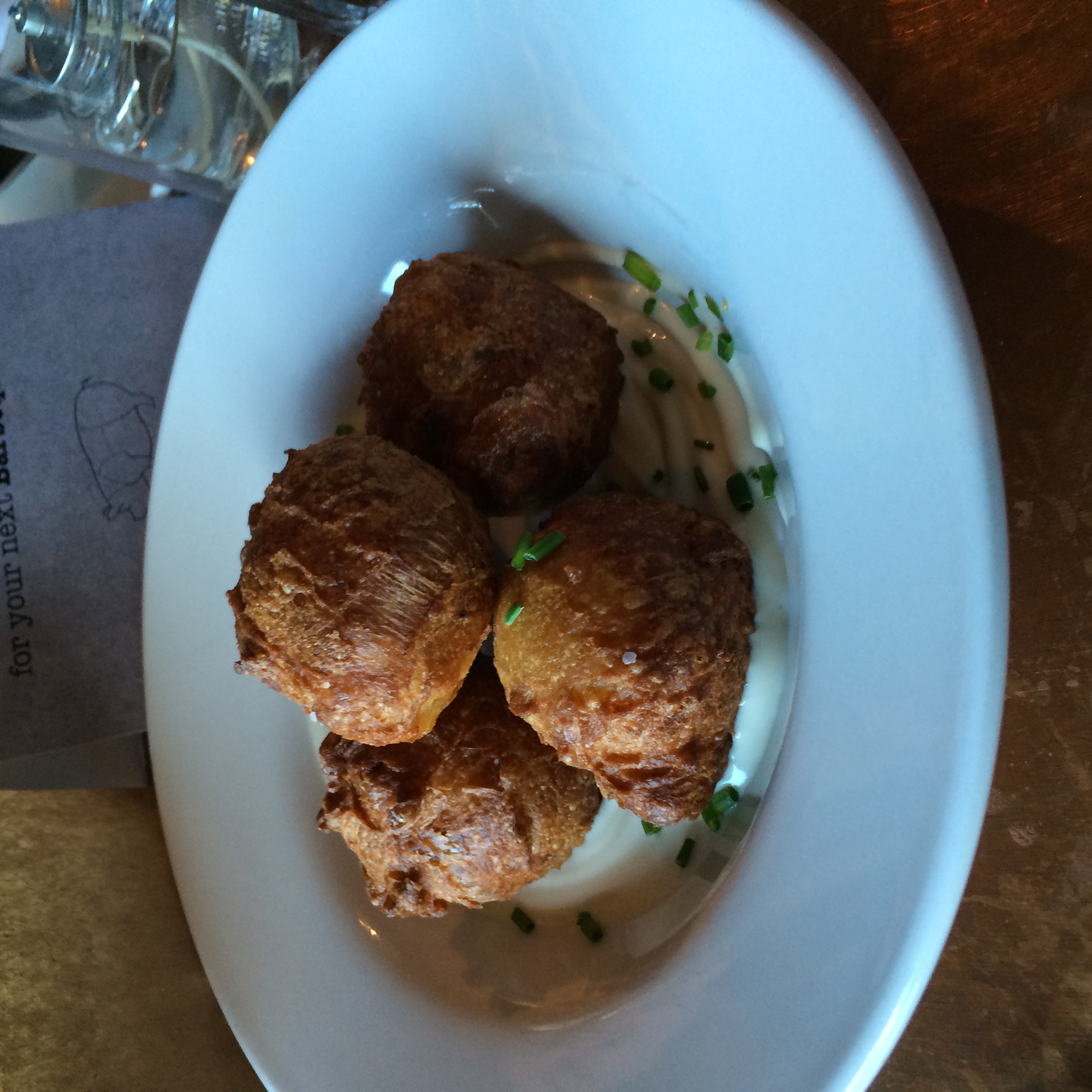 The House bacon beignets with maple chive crème fraiche were light and airy with tons of bacon flavor.