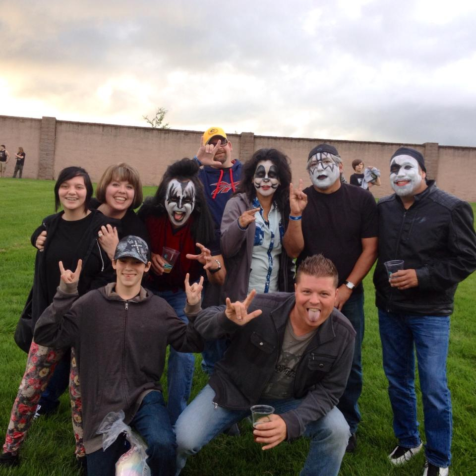 The family and Coop with some fellow fans looking forward to seeing KISS perform.