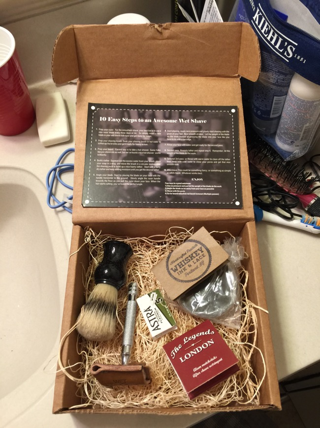 The Wet Shave Club starter pack includes a safety razor, blades, shaving brush, shaving soap, and astringent to help with nicks.