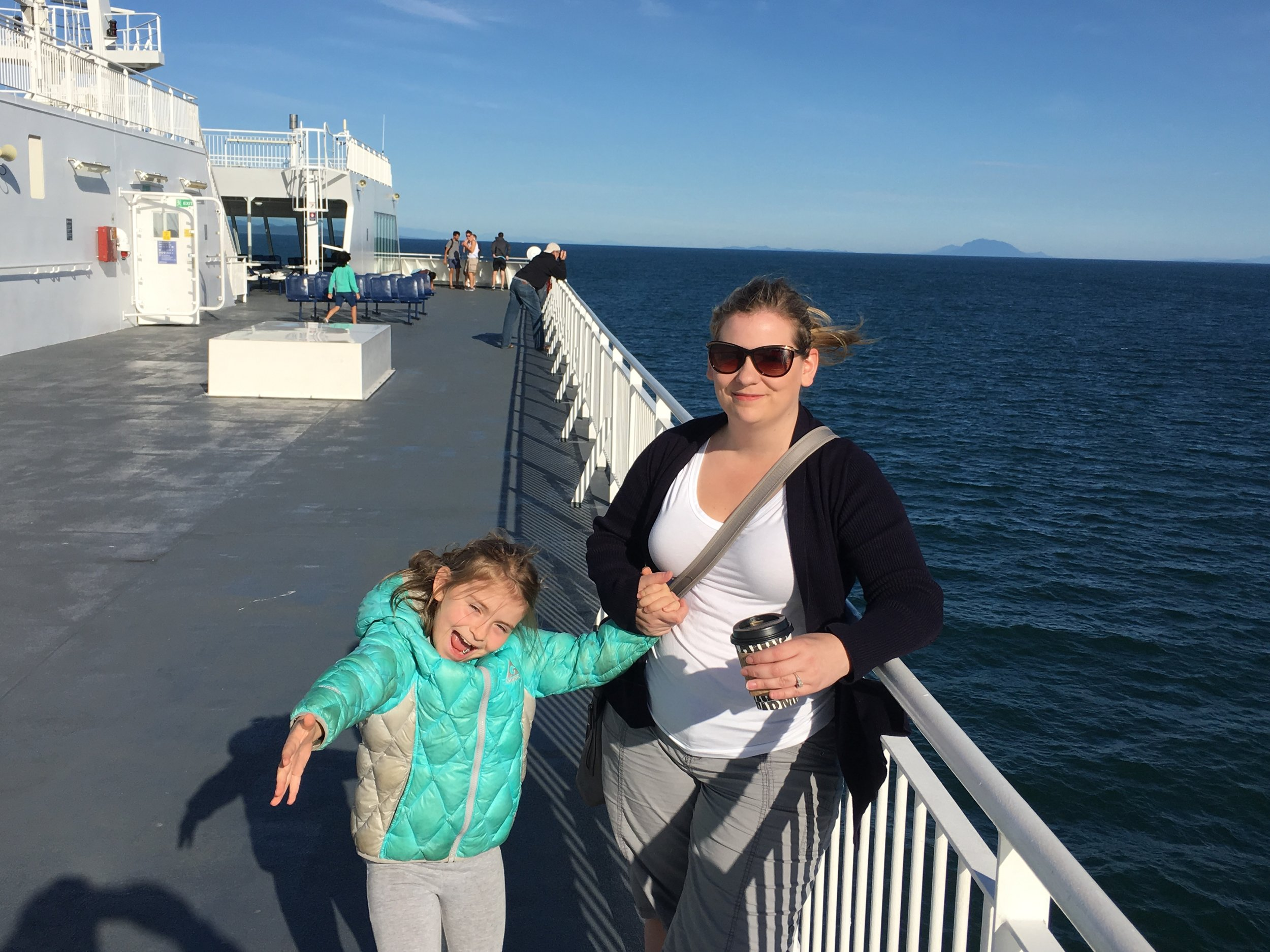 "My girls on the deck of ""The Coastal Inspiration"""