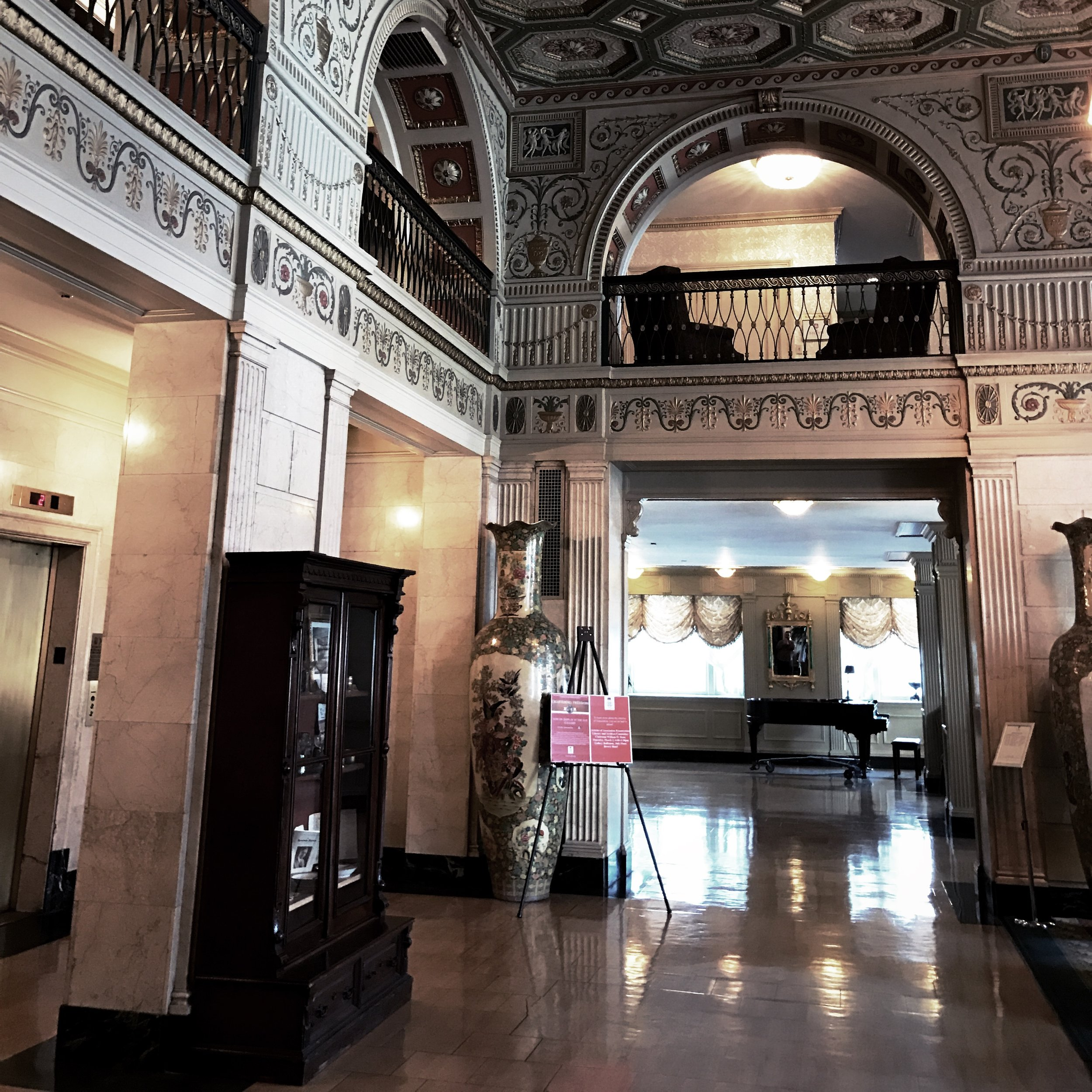 Lobby and mezzanine from The Brown Hotel's front desk