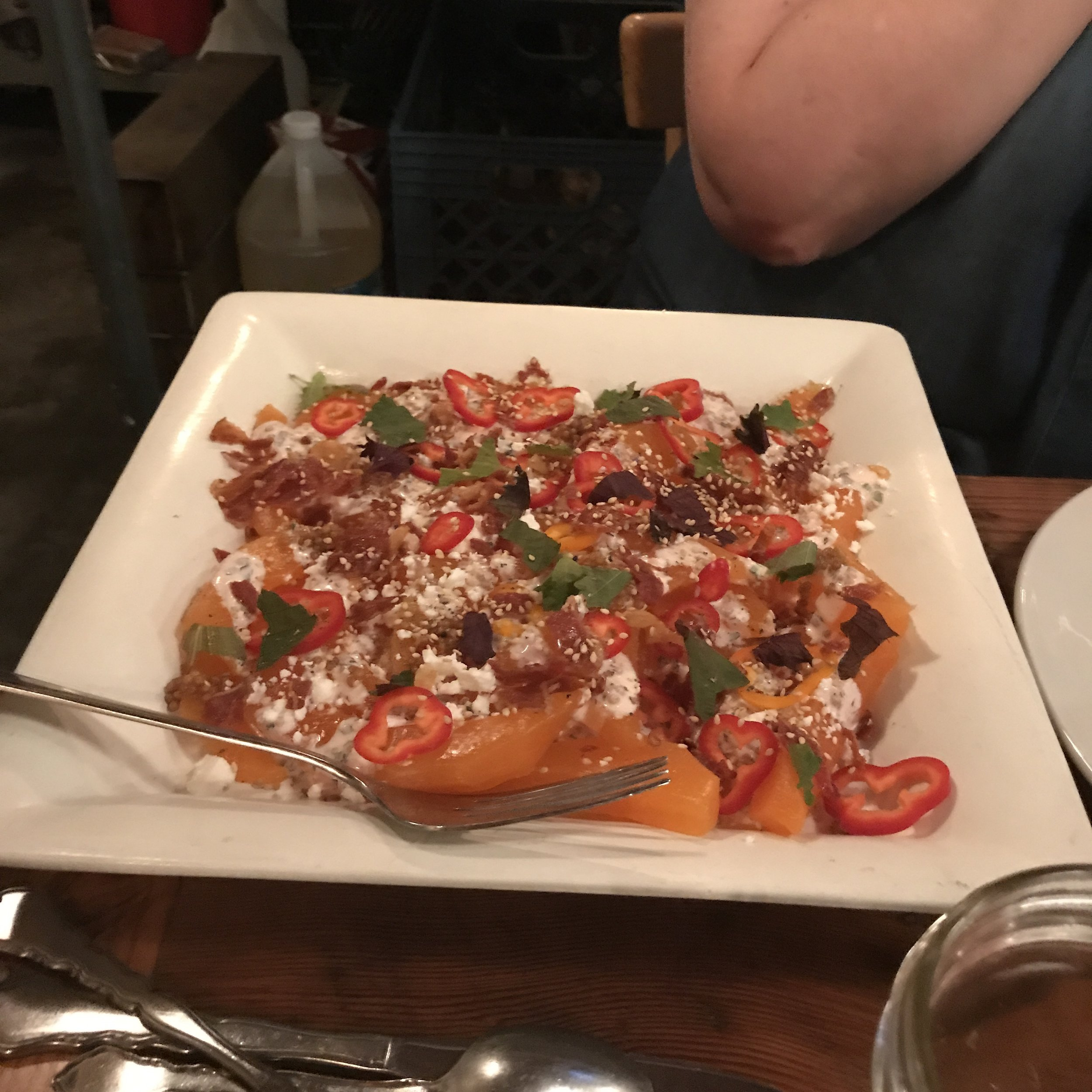Next came a refreshing salad that featured antique cantaloupe melon, crispy bacon, thinly sliced sweet bell peppers, torn mint leaves, and a salty housemade feta