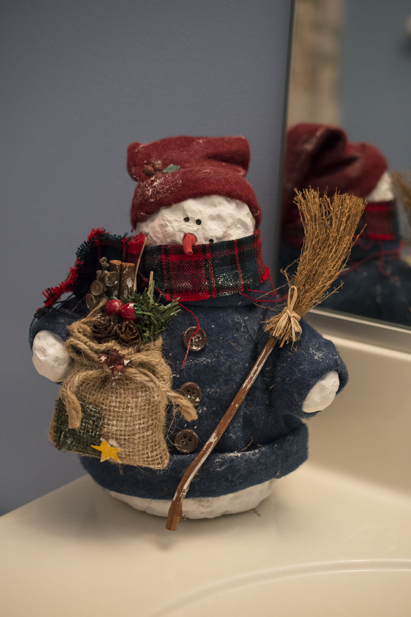 Yep, a snowman is even in the bathroom