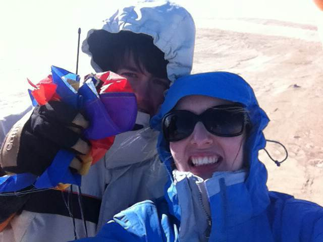 Yep, it was that cold. And yes, that's what's formerly known as our kite in Nathan's hand