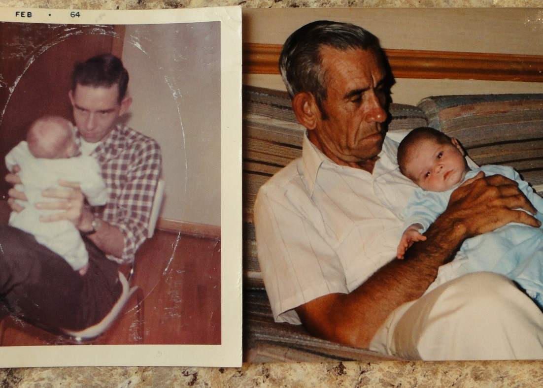 This is a picture of my father-in-law holding my husband (left) and my son, Christopher (right). I love seeing these pictures, 26 years apart, side by side.