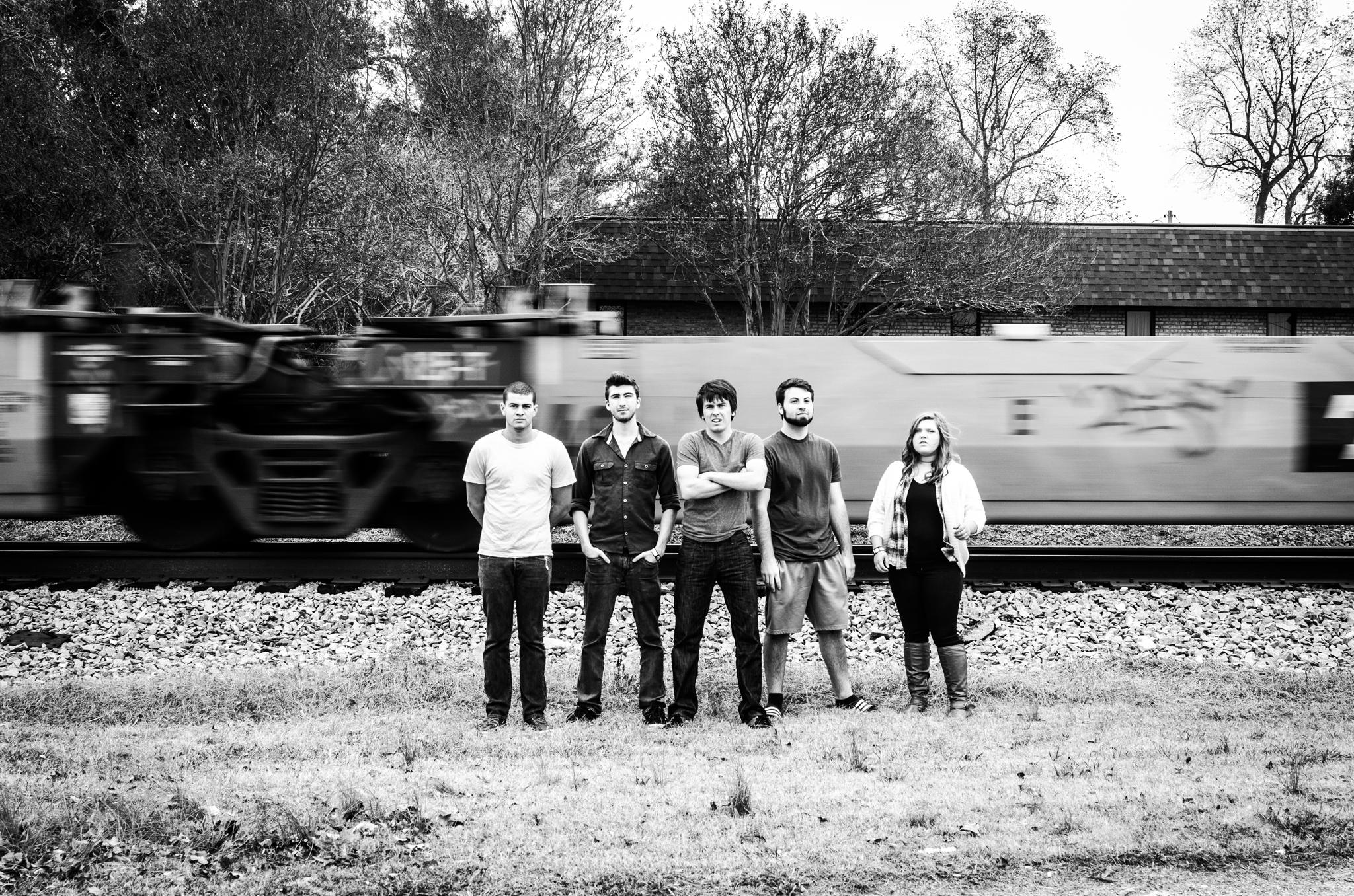Fox Hole Kingdom; black and white; train tracks' band press photos