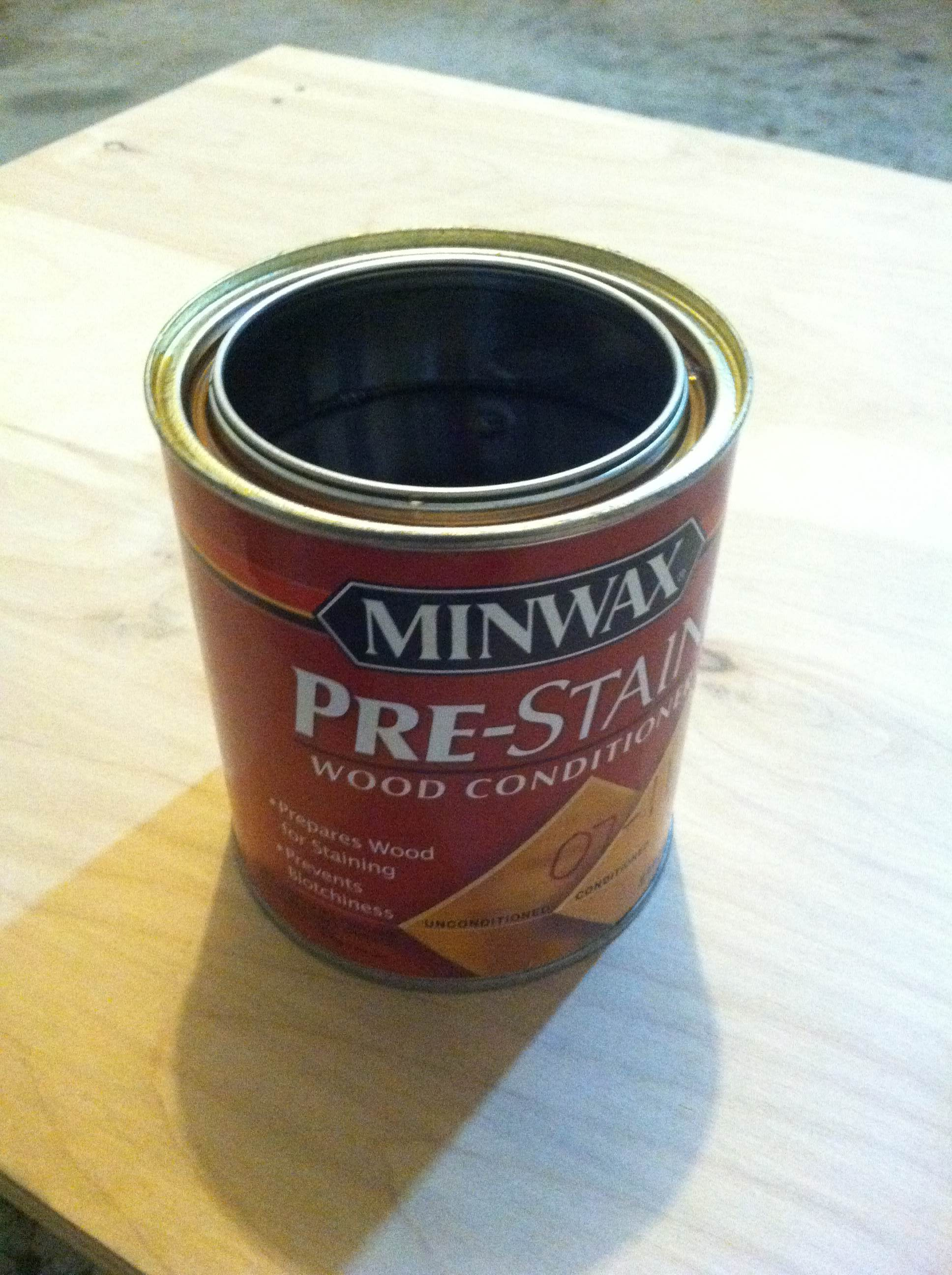 My choice of pre-stain wood conditioner. This thing makes wood look so much better!
