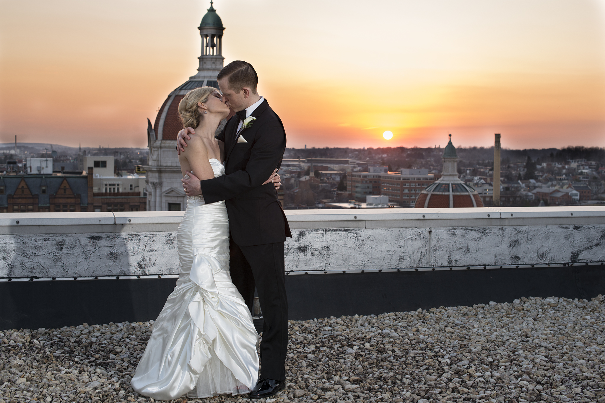 Rooftop pictures at sunset of  Yorktowne Hotel, Lancaster, Pennsylvania