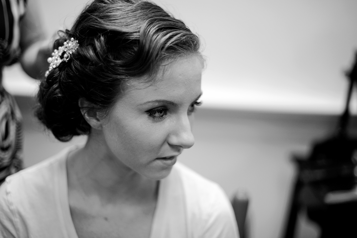 Black and white old Hollywood glamour bridal portrait |Maria Grace Photography