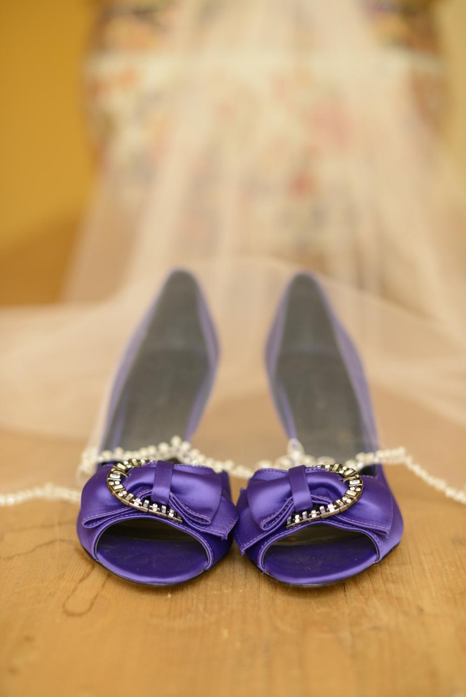 Bride's purple Ravens shoes |Maria Grace Photography