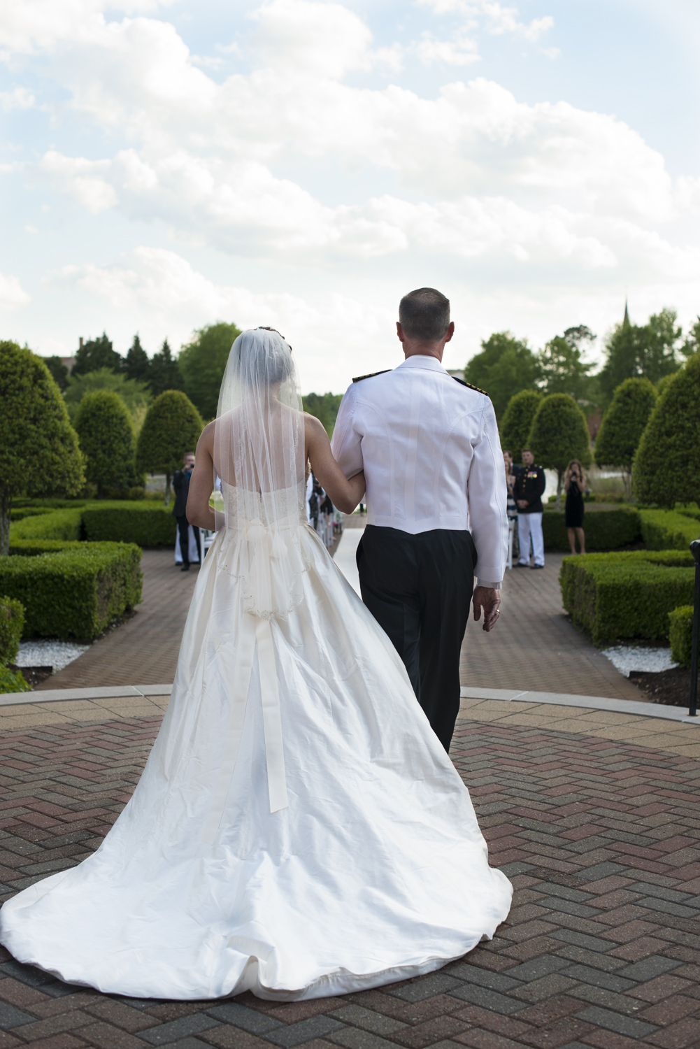 Bride from behind walking down the aisle with her father |Maria Grace Photography