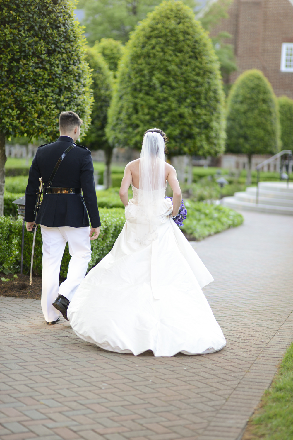 Bride and groom share a walk alone after the ceremony | Maria Grace Photography
