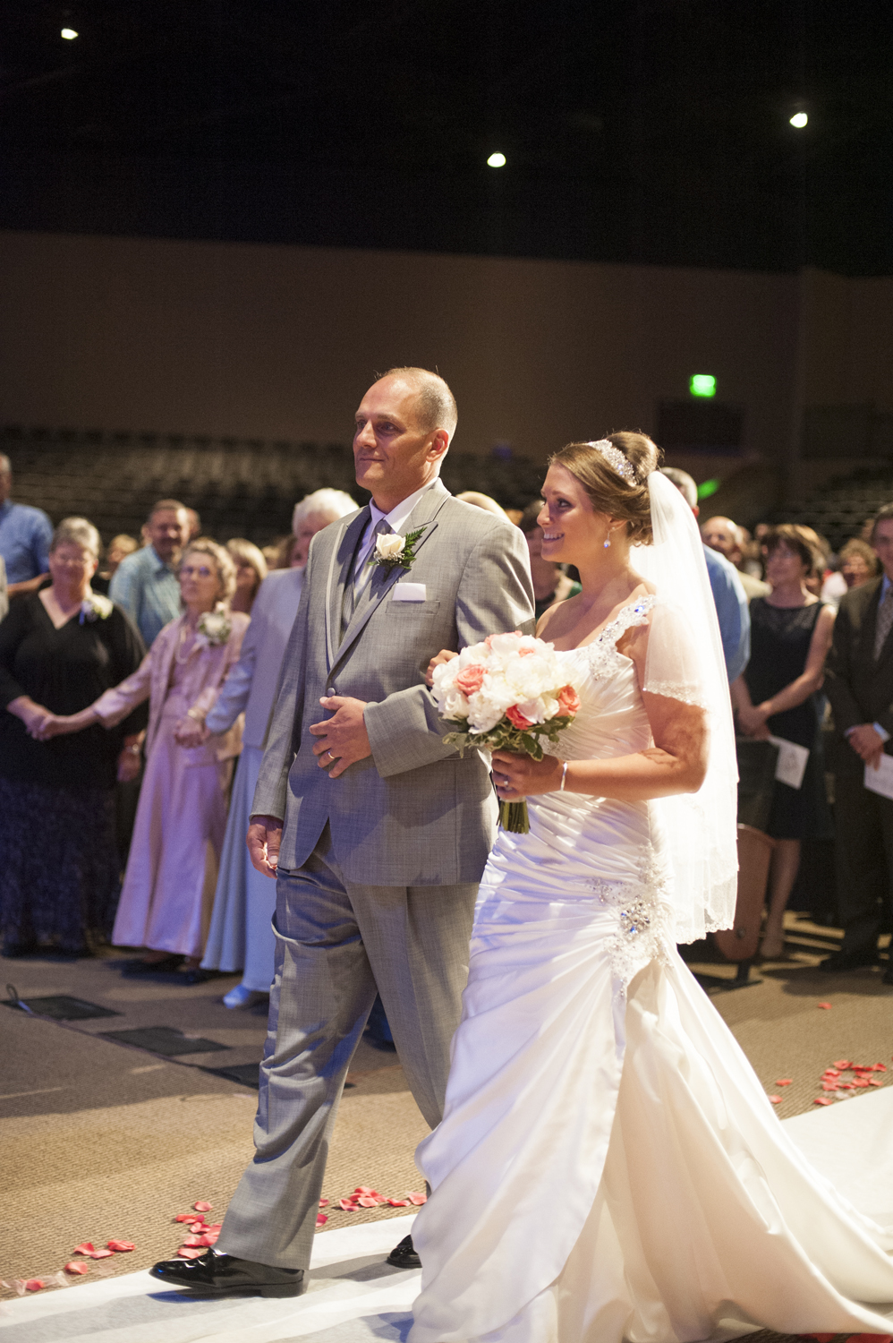 Bride walking down the aisle with her father at Liberty Baptist Church