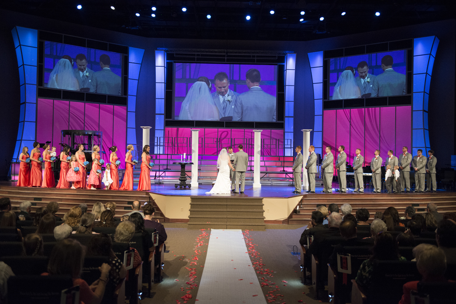 Coral and navy wedding ceremony at Liberty Baptist Church in Hampton, Virginia