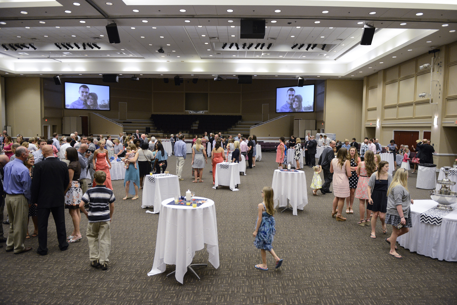 Wedding reception in the dining hall of Liberty Baptist Church in Hampton, Virginia