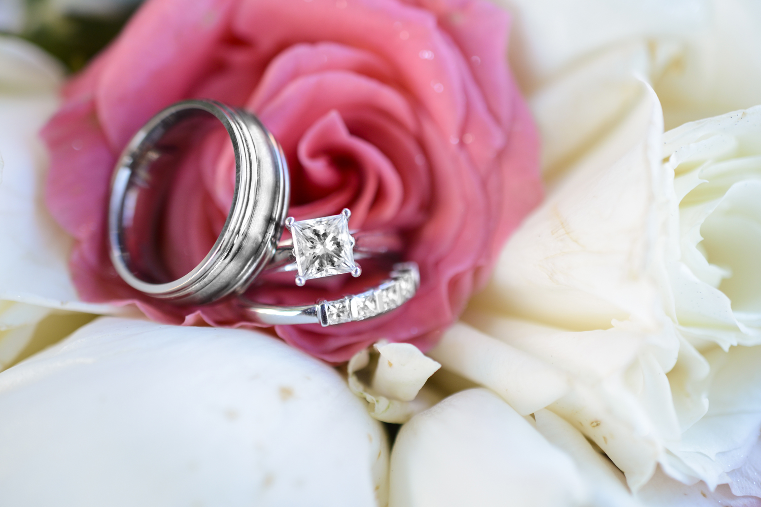 Ring shot in coral pink and white roses at a wedding