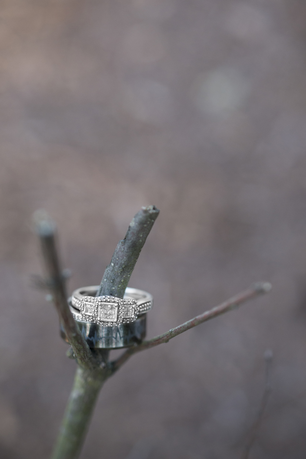 Ring shot on branches during anniversary portrait session at sunset in the woods of Suffolk, Virginia