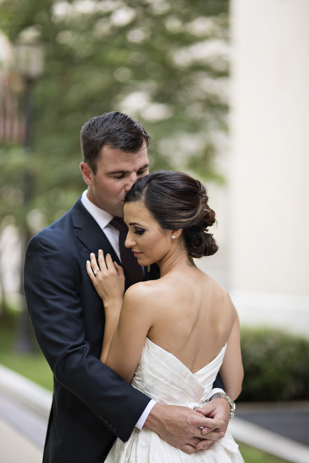 Washington, DC, wedding bride and groom portraits in an intimate garden