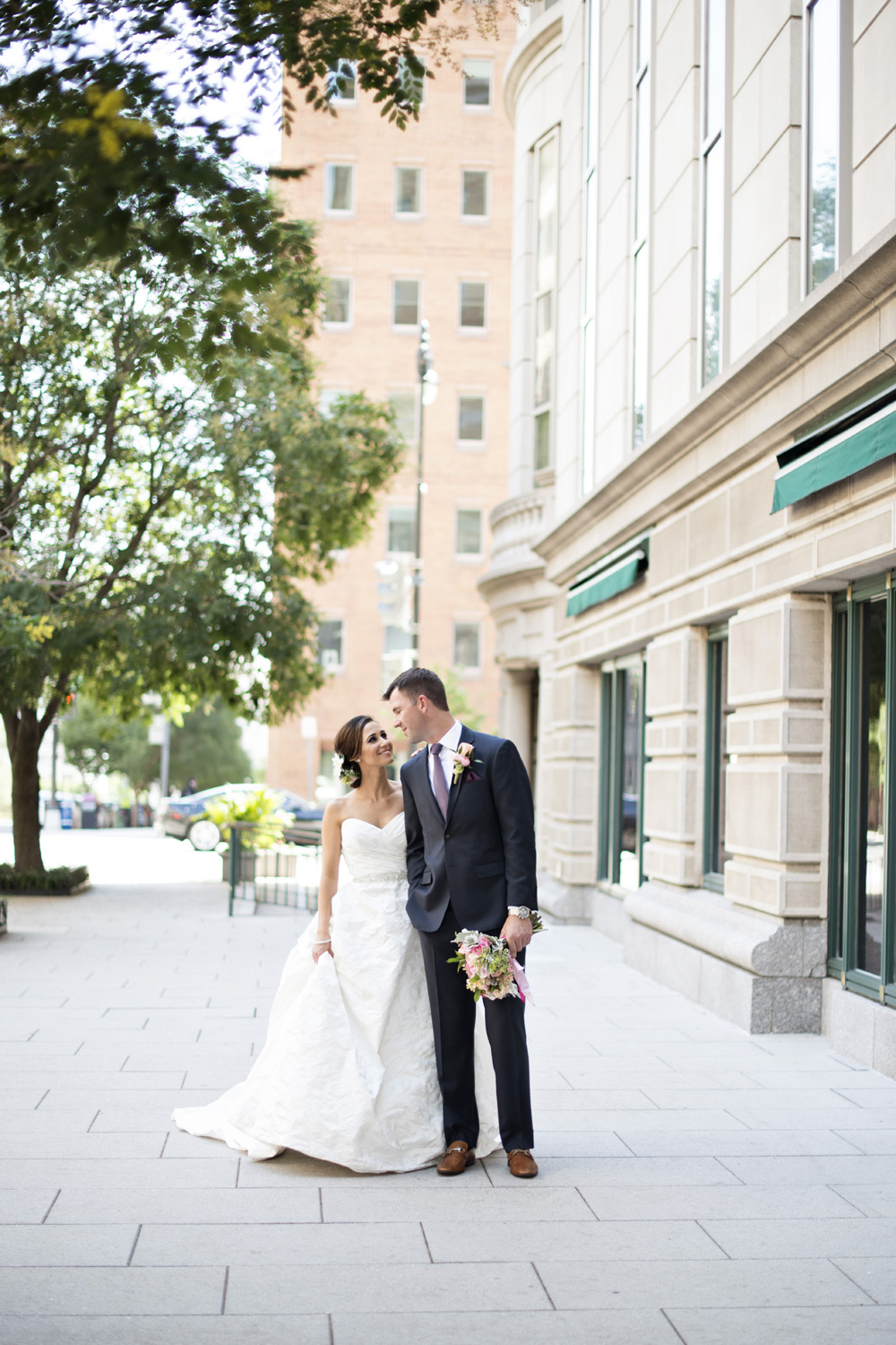 Washington, DC, wedding bride and groom portraits near The Loft at 600 F